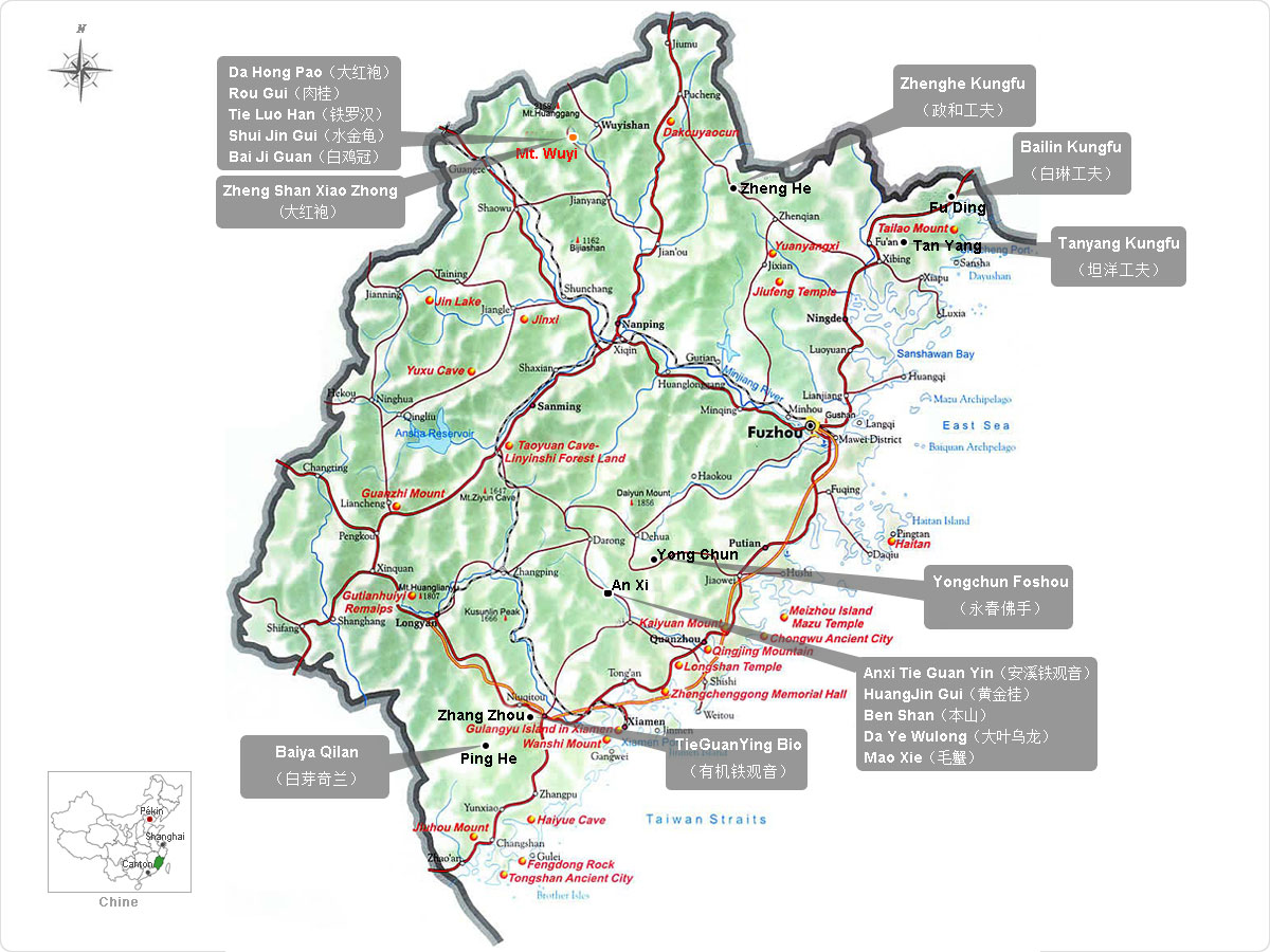 Carte des Wulong et des thés noirs du Fujian