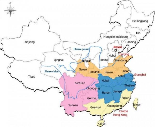 Aires de production du thé en Chine