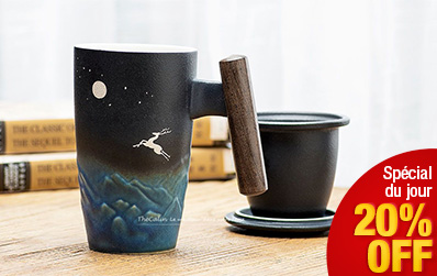 Mug à thé en céramique noire renneen - haute